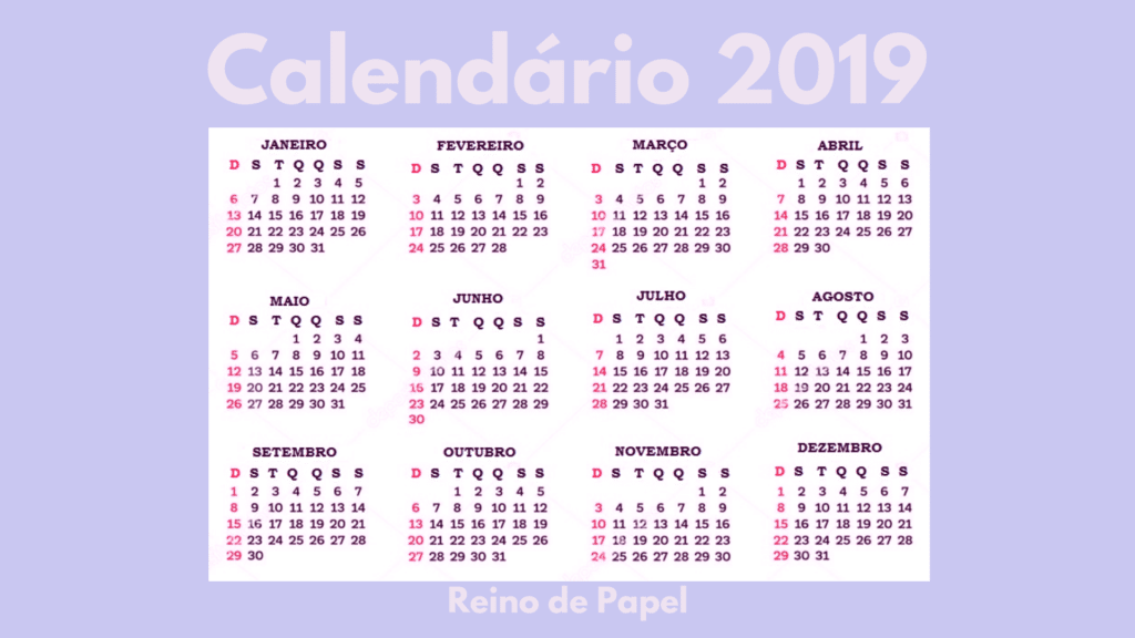 Calendario Dezembro 2019 Png.Calendario 2019 Para Download Gratis Reino De Papel